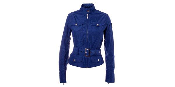 Dámsky modrý kabátik so stojačikom a opaskom Refrigue