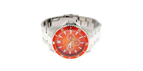 Pánske oceľové hodinky Guess s oranžovým ciferníkom