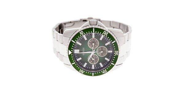 Pánske oceľové hodinky Guess so zeleným ciferníkom