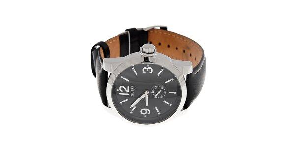 Pánske čierne hodinky Guess s koženým prešívaným pásikom