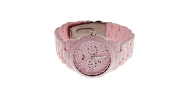 Dámske svtlo rúžové náramkové hodinky Guess