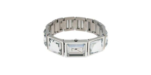 Dámske striebornej náramkové hodinky Guess s brúsenými kameňmi