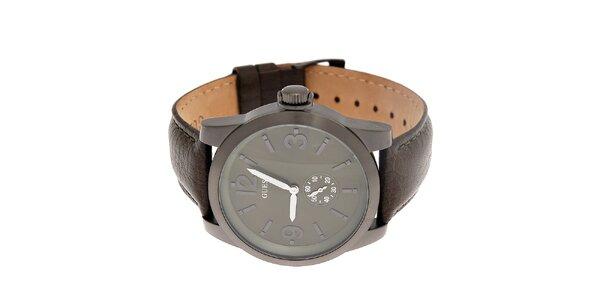Pánske oceľovo šedé hodinky Guess s koženým pásikom