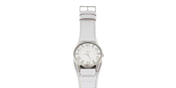 Pánske biele hodinky Guess s koženým pásikom