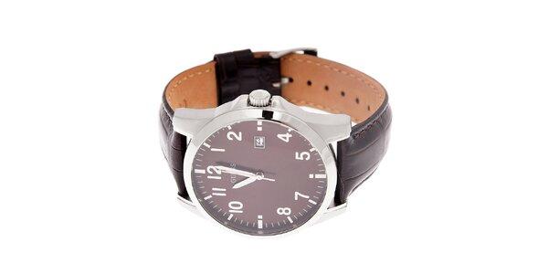 Pánske tmavo hnedé hodinky Guess s koženým pásikom