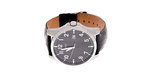 Pánske čierne hodinky Guess s koženým pásikom