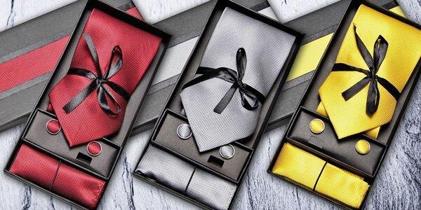 Pánsky set farebnej kravaty, manžetových gombíkov a vreckovky