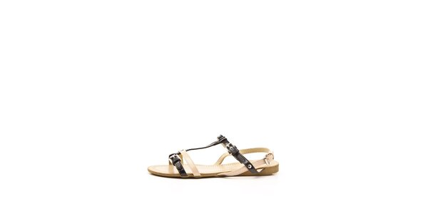 Dámske béžovo-čierne sandálky s dvojitými remienkami Boaime