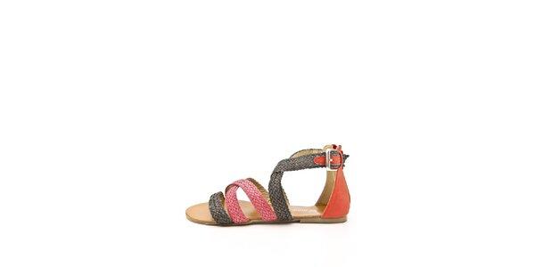 Dámske červeno-čierne remienkové sandálky Boaime