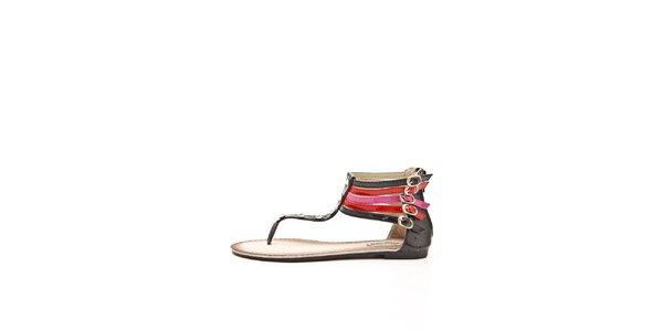 Dámske čierno-červeno-fuchsiové sandálky s kamienkami Boaime