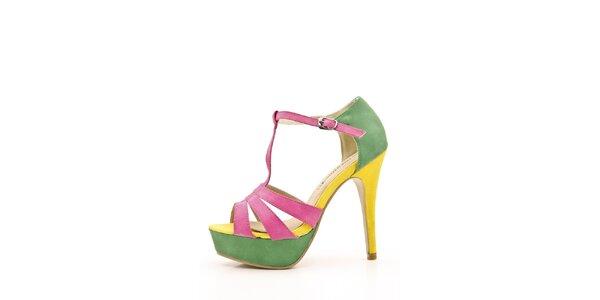 Dámske ružovo-zeleno-žlté sandálky Boaime