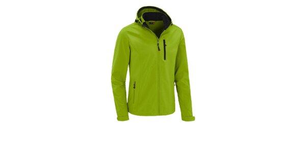Pánska limetkovo zelená softshellová bunda Maier s kapucňou a membránou