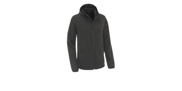 Pánska čierna softshellová bunda Maier s kapucňou