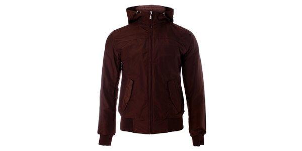 Pánska hnedá jarná bunda Refrigue s kapucňou