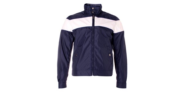 Pánska tmavo modrá bunda Refrigue s bielym pruhom