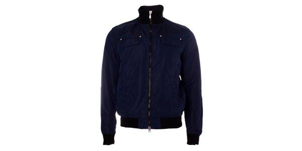 Pánska tmavo modrá bunda Refrigue s čiernymi manžetami