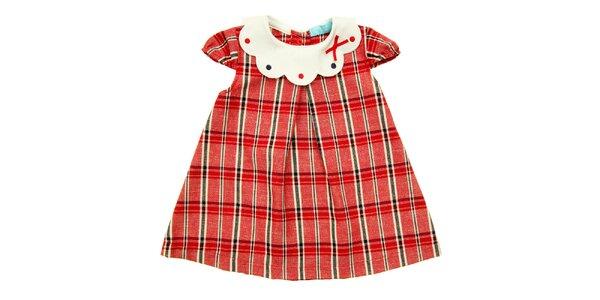 Dievčenské červené kockované šatočky s bielym golierikom Lullaby