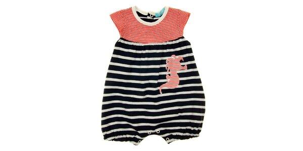 Detské modro-bielo-červené prúžkované body s morským koníkom Lullaby