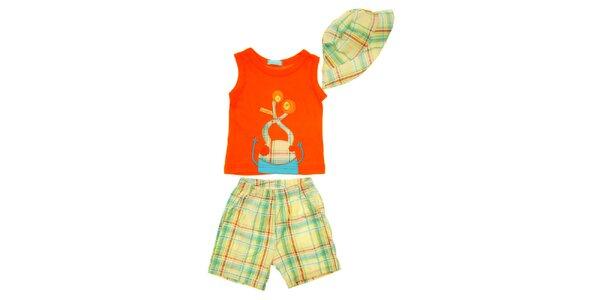 Detský set oranžového tielka, krátkych nohavíc a čiapočky Lullaby