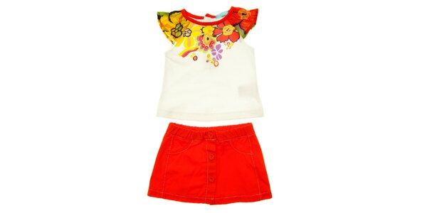 Detský červeno-biely set sukničky a trička s volánikom Lullaby