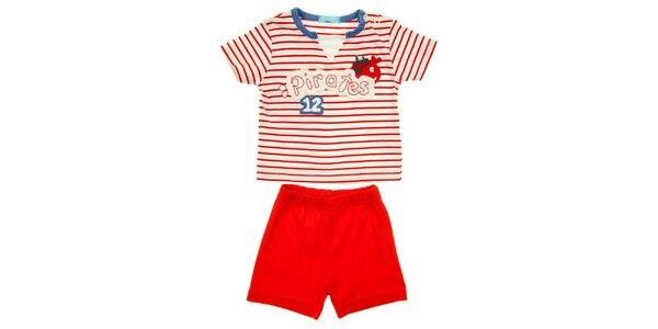Detský červeno-biely set krátkych nohavíc a trička s pirátmi Lullaby
