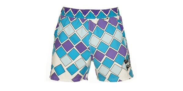Pánske modro-fialové kúpacie šortky British Knights s krátkymi nohavicami