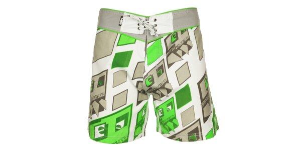 Pánske šedo-zelené kúpacie šortky British Knights s krátkymi nohavicami