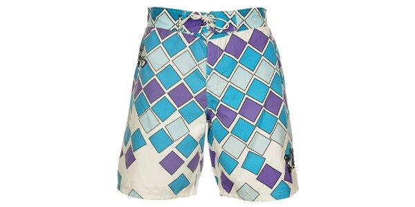Pánske modro-fialové kúpacie šortky British Knights s dlhšími nohavicami