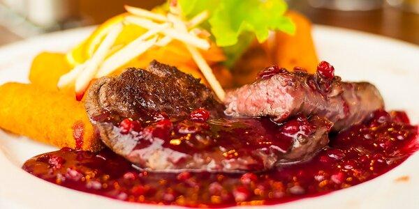 Pikantné hovädzie kúsky alebo jelení steak