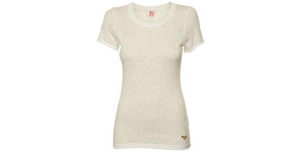 Dámske svetlo melírované tričko s potlačou na zadnej časti Roxy