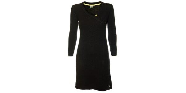 Dámske čierne pleteninové šaty so zavinovacím efektom Roxy