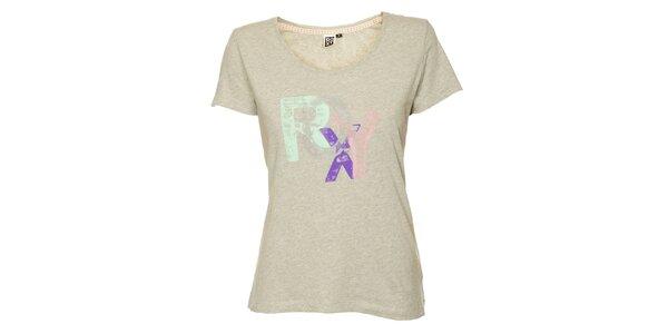 Dámske svetlo šedé tričko s potlačou Roxy