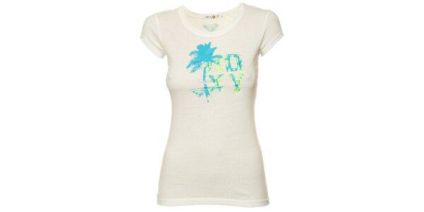 Dámske biele tričko s modrou palmou Roxy