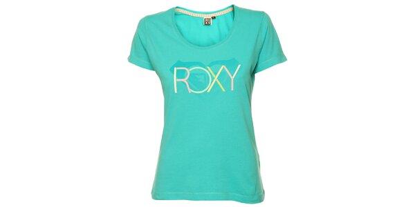 Dámske tyrkysové tričko s pastelovou potlačou Roxy