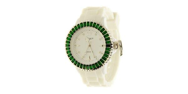Dámske biele hodinky Jet Set so zelenými kamienkami b33c621c33