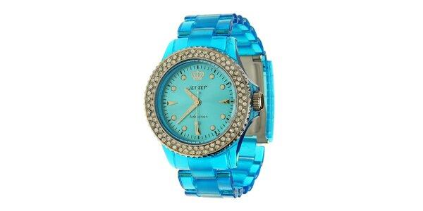 Dámske azúrovo modré hodinky Jet Set s kamienkami a transparentným remienkom