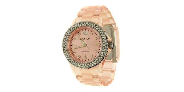 Dámske svetlo ružové hodinky Jet Set s kamienkami a transparentným remienkom