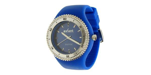 Dámske hodinky Axcent s modrým pryžovým remienkom a kamienkami