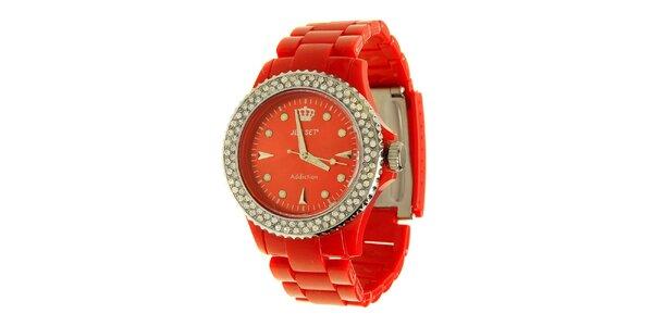 Dámske červené hodinky Jet Set s kamienkami