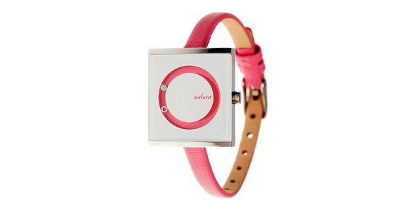 Dámske fuchsiovo-strieborné náramkové hodinky Axcent
