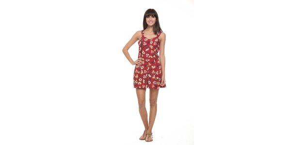 Dámske červený overal s kvetinovým vzorom Roxy