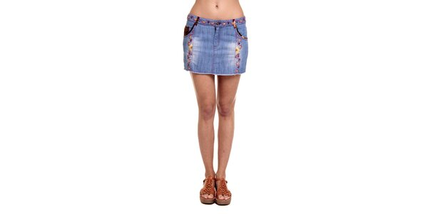 Dámska džínsová sukňa s vyšívaným vzorom Kool