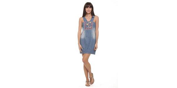 Dámske džínové šaty s výšivkami Kool