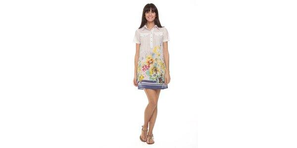 Dámske biele šaty s kvetmi a modrým spodným lemom Kool