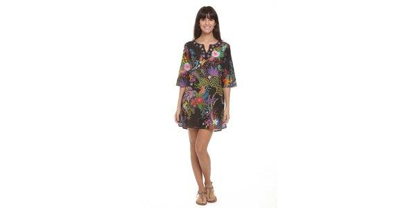 3e135d813cb4 Dámske čierne šaty s farebnými ázijskými vzormi Kool