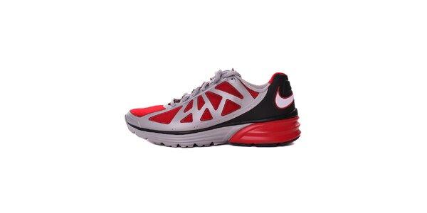 Pánske šedo-čierne běžecké tenisky s červenými detailami Nike