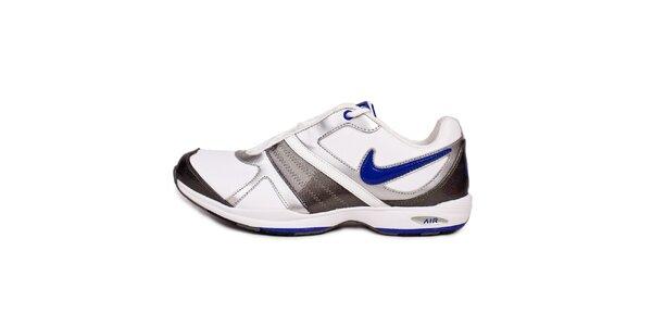 Dámske šedo-biele fitness tenisky Nike s modrými detailami