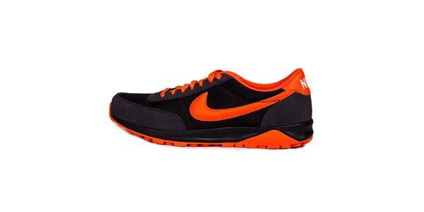 Pánske oranžovo-čierne běžecké tenisky Nike