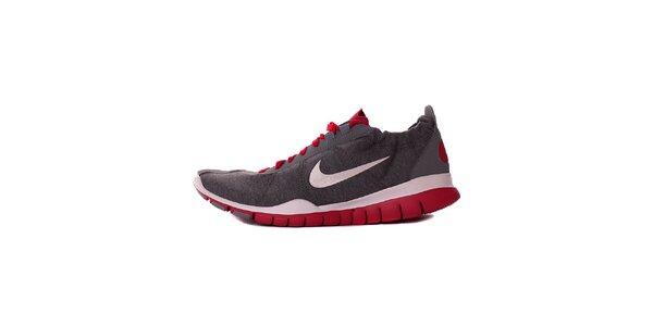 Dámske šedo-červené textilné tenisky Nike