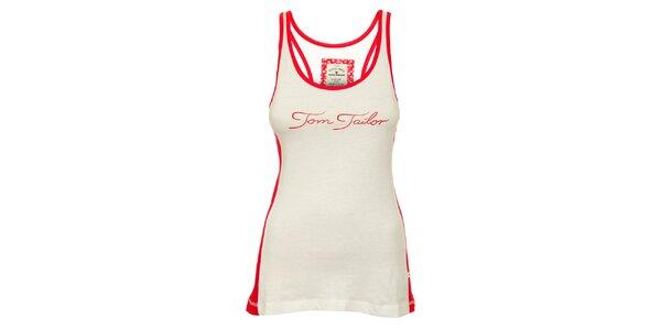 Dámske bielo-červené tielko Tom Tailor